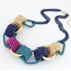 N-3508 New Arrival European Fashion Colorful Enamel Circle Link Chain Pendant  Necklace