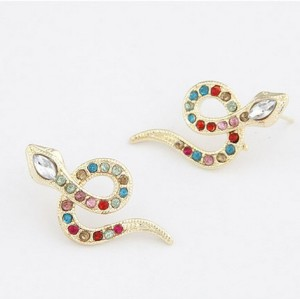 E-0695 New Arrival Korea Style Gold Plated Alloy Colorful Rhinestone Snake Ear Stud Earrings