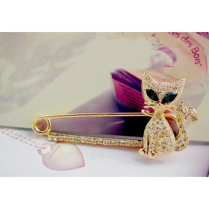 P-0111 New Arrival Charming Silver Gold Plated Metal  Rhinestone Crystal Eye Cat Brooch Pin