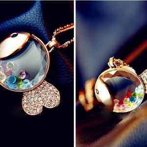 N-4039 New Arrival European Fashion Charming Colorful Crystal Lovely Fish Pendant  Necklace