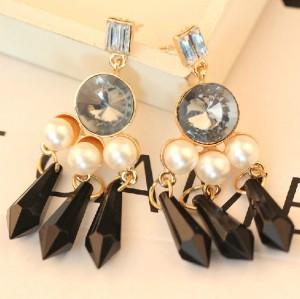 E-2319 New Arrival European Style Gold Plated Alloy Crystal Pearl Drop Tassels Ear Stud Earrings