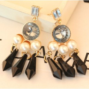 E-2319 New Arrival European Style Gold Plated Alloy Crystal Pearl Drop Tassels Ear Stud Earrings