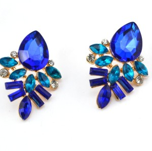 E-2320 New Arrival European Gold Plated Alloy Charming Blue Crystal Drop Flower Ear Stud Earrings