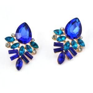 E-2320 New Arrival European Gold Plated Alloy Charming Blue Crystal Drop Flower Ear Stud Earrings