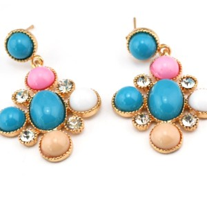 E-0294 New Arrival European Style  Gold Plated Alloy Rhinestone Colorful Resin Gem Dangle Ear Stud Earrings