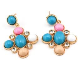 E-0294 New Arrival European Style  Gold Plated Alloy Rhinestone Colorful Resin Gem Dangle Ear Stud Earrings