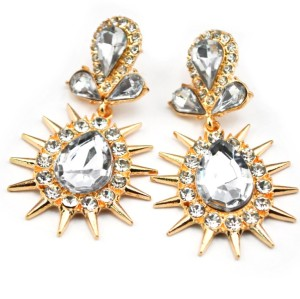 E-2321New Arrival European Gold Plated Alloy Charming Clear Crystal Rivet Drop Dangle Ear Stud Earrings