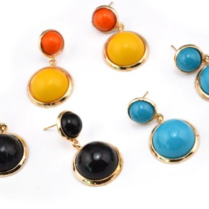 E-3002 New Arrival European Gold Plated Alloy Lovely Round Resin Gem Dangle Ear Stud Earrings