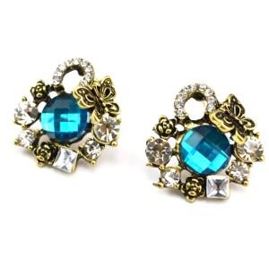 E-0293 New Arrival Vintage Style Bronze Alloy Rhinestone Butterfly Blue Crystal Ear Stud Earrings