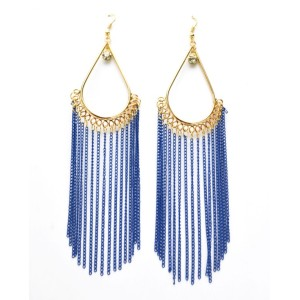 E-3003 New Arrival European Gold Plated Alloy Drop Long Tassels Dangle Ear Stud Earrings