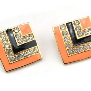 E-2044 New Arrival European Style Gold Plated Alloy Enamel Rhinestone Square Ear Stud Earrings
