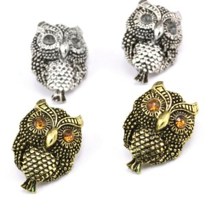E-3001New Arrival Vintage Style Bronze Silver Alloy Rhinestone Eyes Owl Ear Stud Earrings