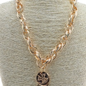 N-1649 Fashion Silver Gold Plated Metal  Link Chain Badge Pendant Necklace