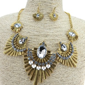 N-3515 New Arrival European Vintage Gold/Silver Metal Clear Crystal Flower Pendant Necklace Earring Set
