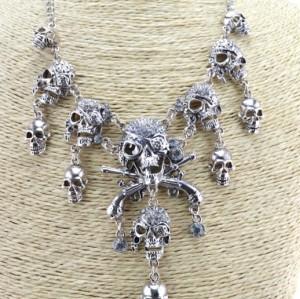 N-3516 New Arrival European Vintage Gold/Silver Metal Cool Rhinestone Skull Pendant Necklace
