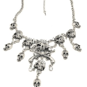 N-3516-S New Arrival European Vintage Gold/Silver Metal Cool Rhinestone Skull Pendant Necklace
