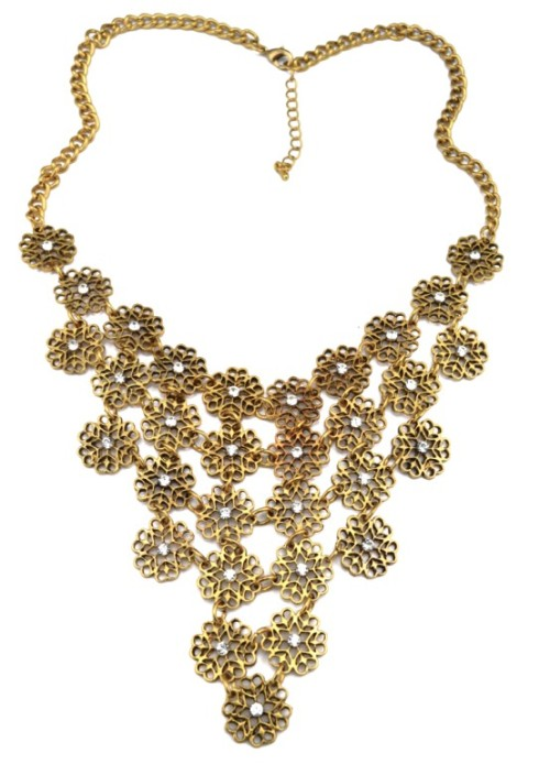 N-3517 New Arrival European Vintage Gold/Silver Metal Rhinestone Hollow Out Flower Bib Pendant Necklace