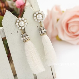 E-3004New Arrival Korea Style Pearl Sunflower Rhinestone Thread Rassel Dangle Ear Stud Earrings