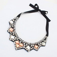 N-3523 New Arrival European Square Crystal Rhinestone Black Silk Chains Geometry Pendant Collar Necklace