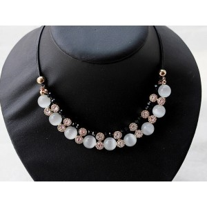 N-3524New Arrival  Korea Style Gold Plated Alloy  Black Acrylic Clear Rhinestone Cat's Eye Pendant Necklace