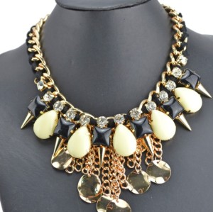 N-3527 New Arrival  European Style Link Chain Drop Resin Gem Crystal Rivet Pendant Necklace