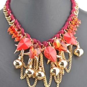 N-3528 New Arrival  European Style Link Chain Drop Resin Gem Crystal Rivet Ball Tassels Pendant Necklace