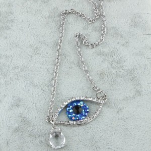 N-2918New Arrival  European Lovely Charming Blue Rhinestone Eye  Clear Drop Tear Pendant Necklace