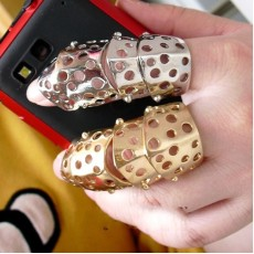 R-1104 New Arrival European Punk Gold/Silver Plated Metal Joint With Hool Double Finger Ring