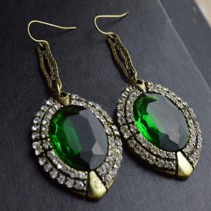 E-0296New Style European Bronze Alloy Rhinestone Green Crystal Dangle Ear Stud Earrings