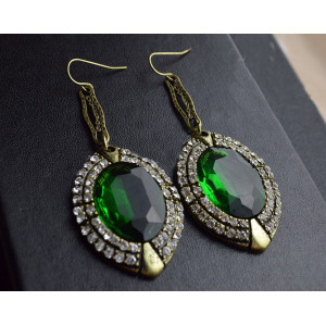 E-0296New Style European Bronze Alloy Rhinestone Green Crystal Dangle Ear Stud Earrings