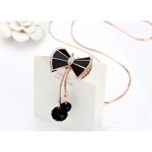 N-2612 New Arrival  Korea Style Thin Chain Rhinestone enamel botknow acrylic Pendant Necklace