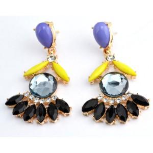 E-3007Fashion Korea gold plated alloy drop crystal flower ear stud earrings