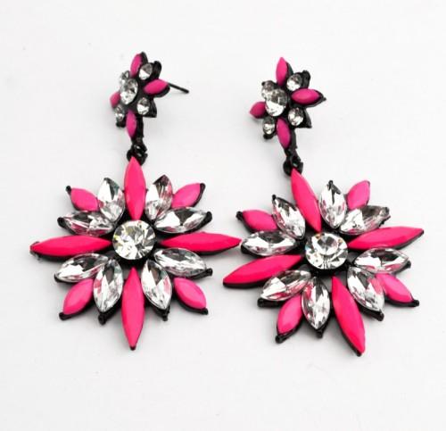E-3008 Fashion Korea black alloy crystal resin gem flower ear stud earrings