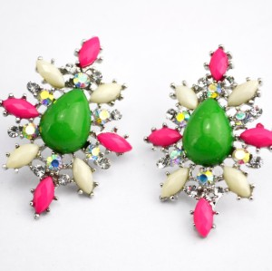 E-3006New Arrival European Charming Silver Plated Metal Colorful Resin Drop Gem Flower Ear Stud Earrings