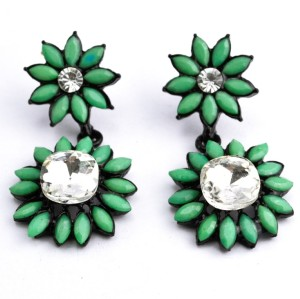 E-0298 Fashion European Black Alloy Crystal Resin Gem Sunflower ear stud earrings