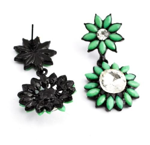 E-0298 Fashion European Black Alloy Crystal Resin Gem Sunflower ear stud earrings