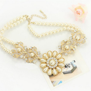 N-3530 Fashion Korea style Double Pearl  Chain Rhinestone  Leaves Flower Choker Necklace