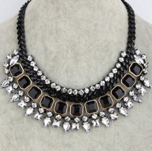 N-3532 Fashion Europe Style  Black Metal Chain Resin Gem Rhinestone Drop Crystal Choker Necklace