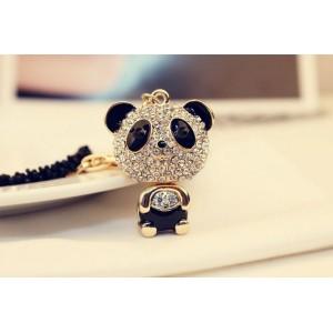 N-3431 Fashion Korea Style  Black Beads Chain Rhinestone Enamel Panda Pendant Necklace