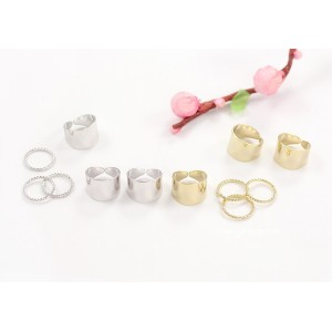 R-1105 New Arrival Korea Style Silver Gold Plated Metal Simple 6pieces Finger Rings Set