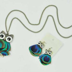 S-0088 Fashion European Style Bronze Alloy Enamel Eye Peacock Feather Owl Pendant Necklace Earring Set