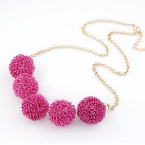 N-3533 Fashion European Style Gold Plated Chain Steel Wire Ball Pendant  Necklace