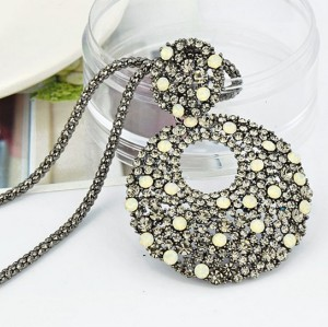 N-2386Fashion European Style  Gun Black Alloy Long Chain Rhinestone Hoop Pendant  Necklace
