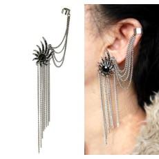 E-0304 Fashion European Silver Plated Alloy Black Rhinestone Flower Ear Stud Clip Ear Cuff