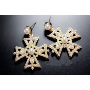 E-0299 Fashion European Gold Plated Alloy  Faux Pear Cross Dangel Earrings