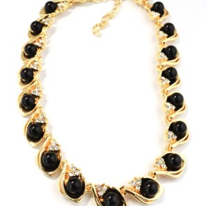 N-1655 Fashion European Style Gold Plated Alloy Rhinestone Pearl Leaves Choker Necklace