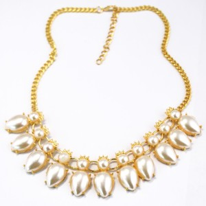 N-1656 European Style Gold Plated Alloy  Pearl  Drop Tassels Necklace