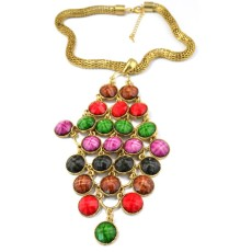 N-3534 European Style Alloy  Snake Chain Colorful Acrylic Gem Tassels Necklace