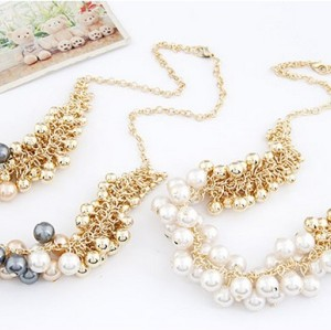 N-1658 Korea Style Gold Plated CCB Balls Faux Pearl Tassels Necklace