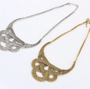 N-3537 Fashion European Style Carving Woven knot Pendant Necklace
